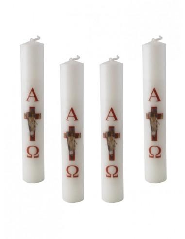 Vela pequeña para la celebración de la Pascua.  Paquetes de 4.  Dimensiones:  Ø 3 x 19 cm