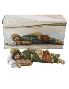 Imagen religiosa de San José durmiente fabricado en resina tamaño 19x9cm. En testa imagen litúrgica encontramos a San José dur