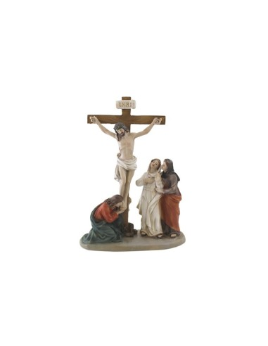 Conjunto del calvario Cristo crucificado y mujeres. A los pies de la Cruz estaban en primer lugar las mujeres. De los Apóstole