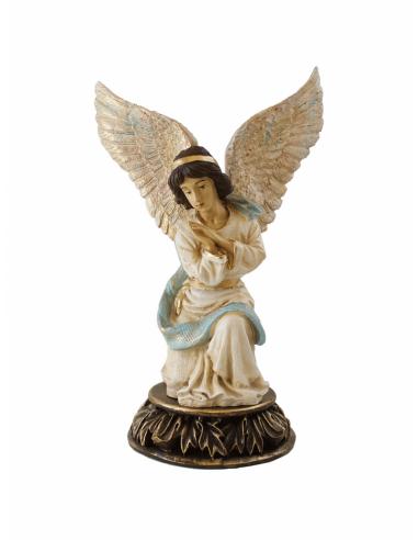 Imagen de Ángel de la guarda con base en marmolina policromada.