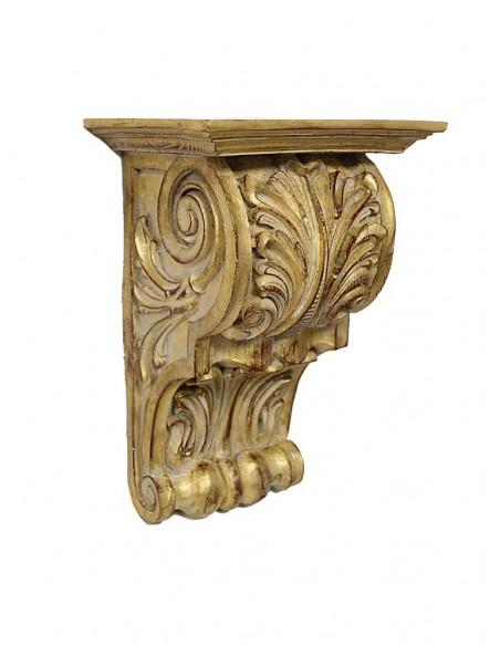 Repisa dorada con motivos vegetales  Dimesiones: 38 x 25 x 20 cm. (Alto x Ancho x Profundo de Base) Medida base: 25 cm de an