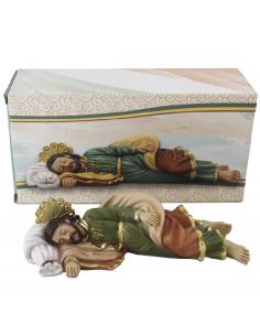 San Jose durmiente de 14 cm, realizado en resina.