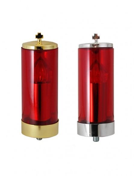 Parte superior de lámpara del Santísimo. Vaso rojo, acabado en redondo.  Disponible en acabado metalico en dos colores: dorad