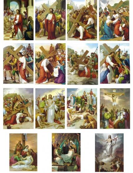 Láminas con las 15 estaciones del Vía crucis.  Disponible en varios tamaños.