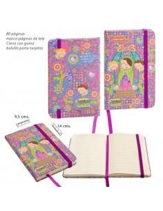 Agenda Virgencita plis tamaño bolsillo. Portada con colores llamativos y frases. Cierre con goma, marca paginas de tela.   Co
