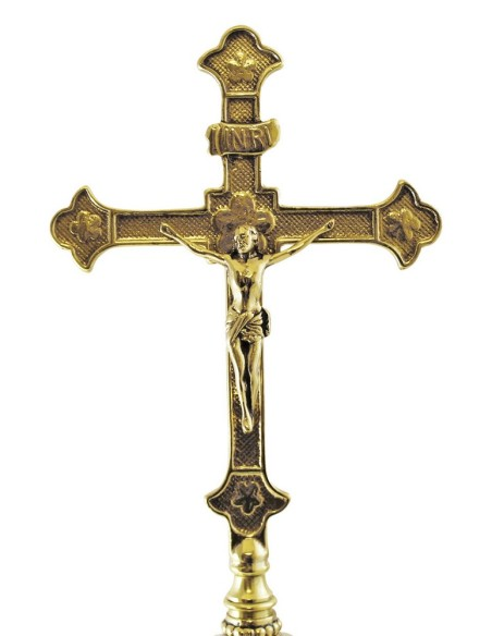 Cruz sobremesa de bronce con base de marmol 35 cm. Medida: 45 cm de altura x 15 cm de ancho x 10 cm de fondo.