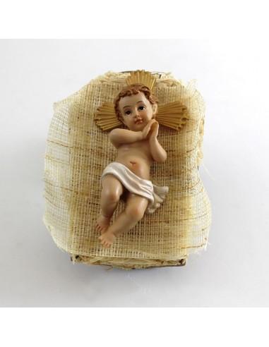 Niño Jesus con Cuna, resina, 12 cm,