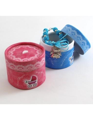 Pulsera decena Angel con estuche, disponible color Rosa y Azul.
