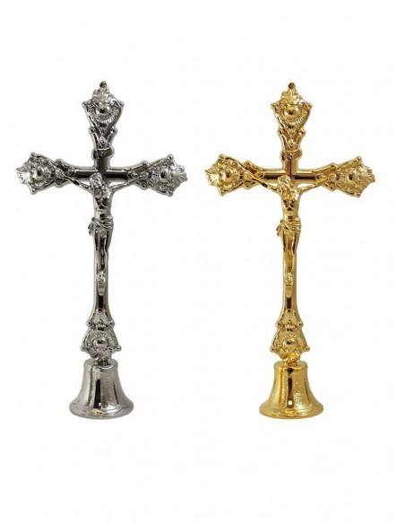 Cristo Crucificado en la Cruz. Crucifijo de Sobremesa. Terminacion disponible en dorado y plateado. Candeleros NO INCLUIDOS.