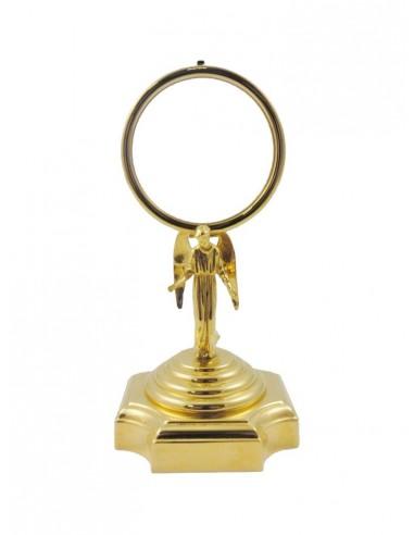 Ostensorio dorado con nudo de ángel.  Dimensiones: 19 cm.