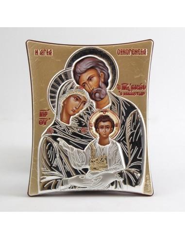 Cuadro griego, moldurado, Sagrada Familia, 11 x 14 cm.