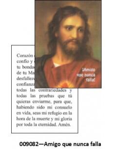 Estampa mini de Jesús: Amigo que nunca falla. Por la parte delantera aparece la imagen de Jesús y por detrás aparece reflejada