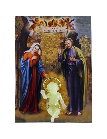 Niño Jesus fluorescente de 4 cm  con estampa con oracion