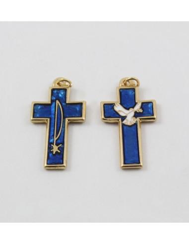 Cruz metal con esmalte azul, 4 cm, con espiritu santo en una cara y en la otra el Pax.