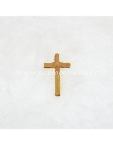 Pin dorado con cruz simple, disponible en dorado y plateado. Medidas: 2.5 x 1.5 cm.