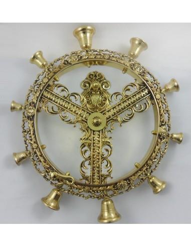 Carrillon grabado bronce, 45 cm diametro.