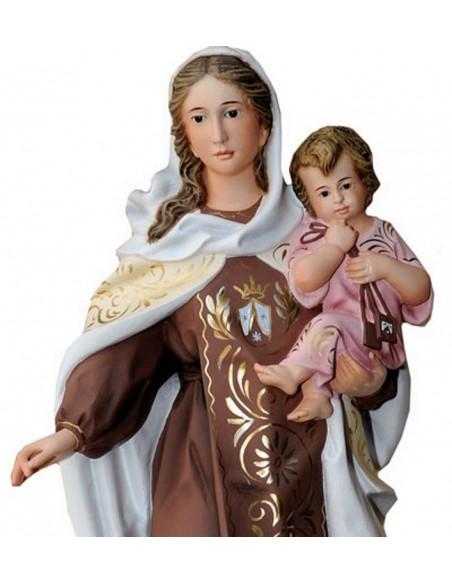 Imágen de Virgen del Carmen estilo Barroco en pasta madera. Pintada a mano en decoración clase fina.  Disponible en diferente