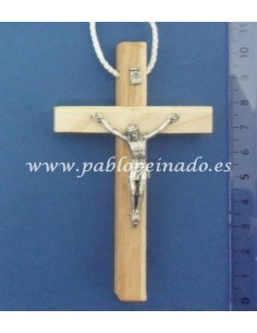 Cruz de madera de 10 cm con cristo.