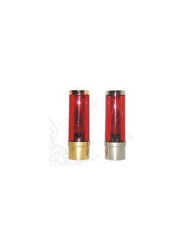 Lampara electrica ideal para acoplar en candelero con soporte para velas de Ø 6 cm Medida: 16 cm de altura  Vidrio color rojo