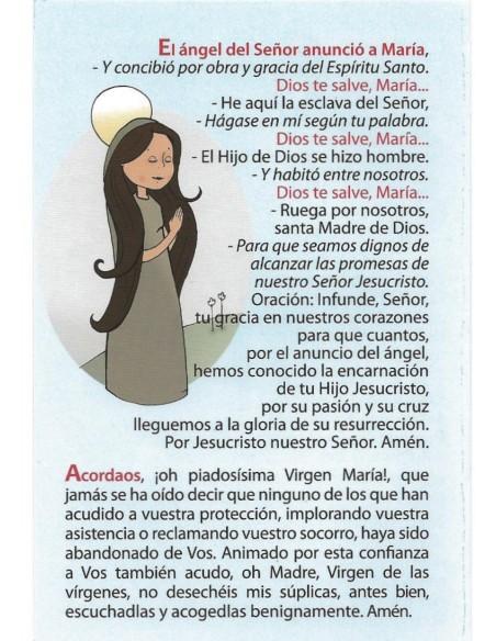 Oraciones para preparar mi primera comunión en díptico.  Contiene las oraciones esenciales: el Ave María, la Salve, la señal