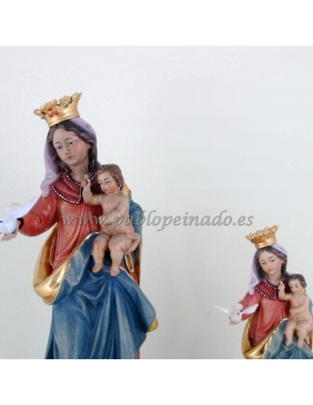 Virgen con niño talla de madera. Disponible en varias medidas.