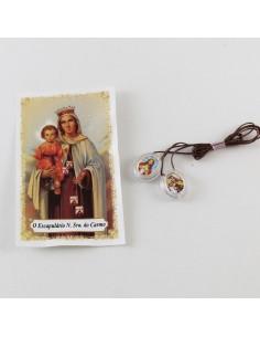 Escapulario ovalado, metacrilato, Virgen del Carmen.  2 cm.