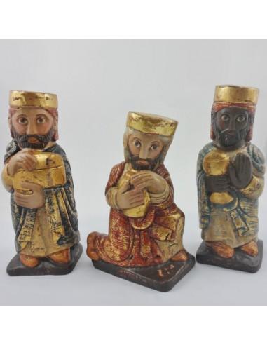Juego tres reyes talla madera, 25 cm