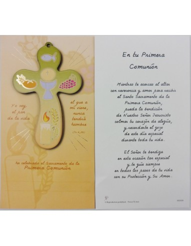 Cruz Comunion con lamina y oracion en la parte trasera. Medidas:  Cruz: 14 x 9 cm Lamina: 23 x 13 cm