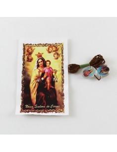 Escapulario ovalado, metacrilato, Virgen del Carmen.  1,5 cm.