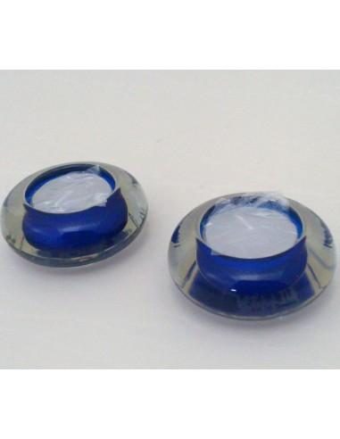 Portalamparita de cristal azul con lamparita incluida.  Dimensiones:  Ø 7 x 2.5 cm