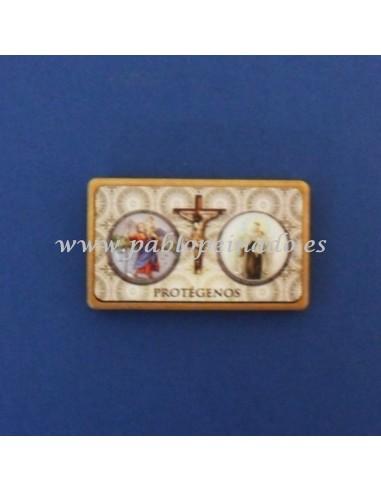 Placa para coche con iman. imagenes de San Isidro Labrador y Virgen del Carmen. Dimensiones: 5.50x3.50 cm