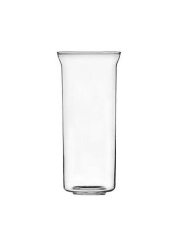 Vaso lampara del Santísimo cristal transparente con orificio en la parte de abajo.  Dimensiones: 8 cms Ø parte superior 6.8