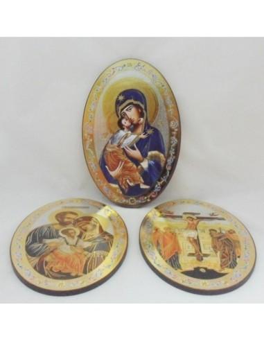 Icono de madera ovalados con diferentes imagenes. Dimensiones: 20x30 cm