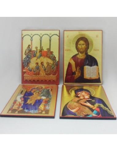 Icono de madera con varias imagenes 21x29 cm