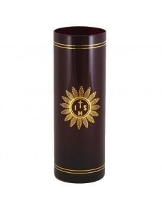 Vaso para lámpara Santísimo cristal rojo de 21 cm. 700cc