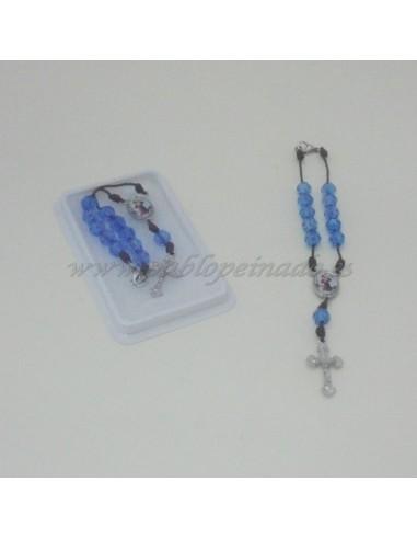 Decena de color azul con la Virgen Auxiliadora y San Cristobal.