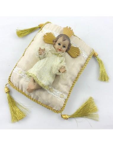 Niño Jesús vestido crema disponible en 17 cm  cojin 20 cm