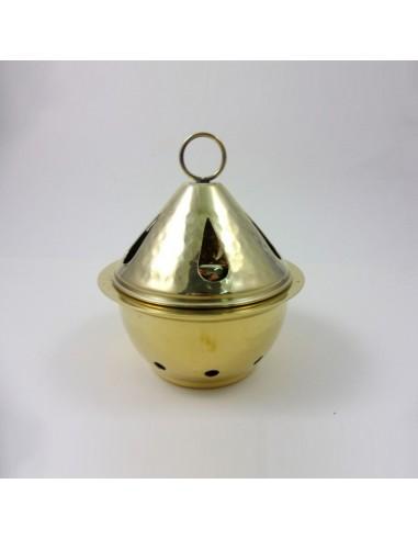 Quemador de incienso dorado, 10x14 cm