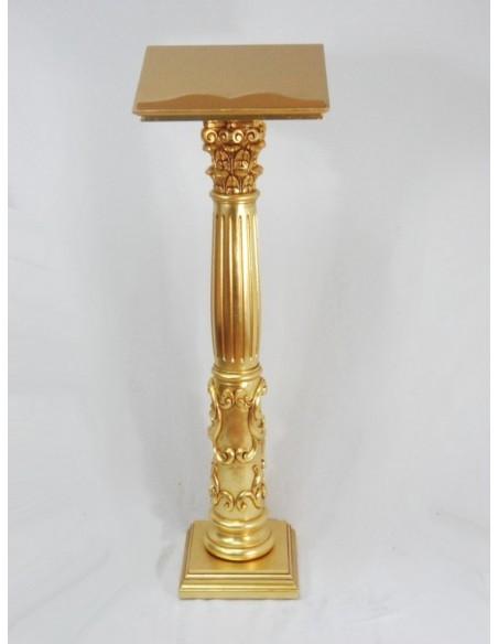Atril de pie madera, pan de dorado, columna Griega.   Altura: 158 cm. Posalibro: 33 x 42 cm.