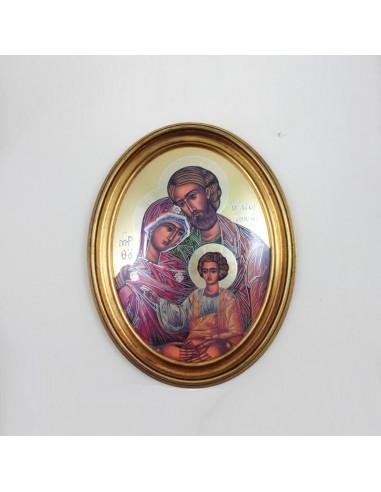Cuadro oval con marco dorado, 29x36 cm, de la sagrada familia.