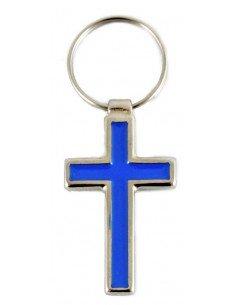 Llavero cruz esmalte azul.  Medidas:  Largo total: 6,5 cm Cruz largo: 4 cm Cruz ancho: 2,5 cm