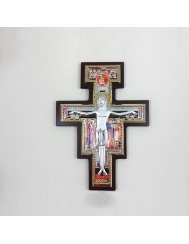 Cruz de San Damián de madera con placa bilaminada de plata Varias dimensiones disponibles: 8 x 11 cm  18 x 25 cm 23 x 32 cm