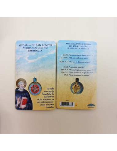 Medalla de San Benito, esmaltada con folleto