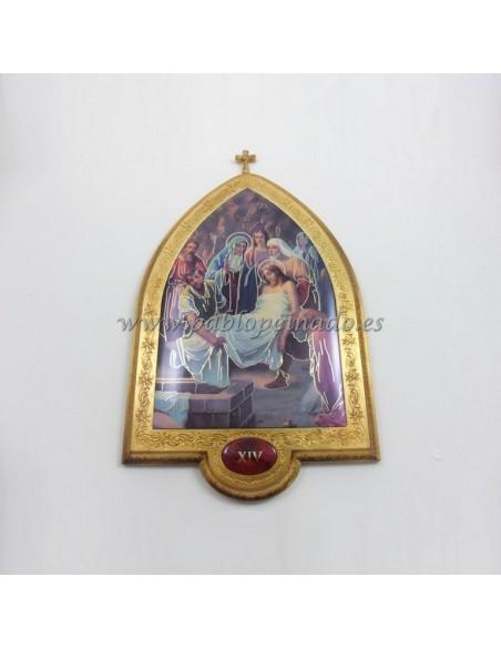 Via Crucis en pan de oro. Conjunto de 15 piezas de 22x33,5 cm.