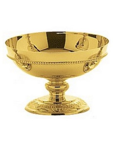 Copon Patena metal baño de oro. Rica ornamentación cincelada a mano. Dimensiones: 10 cm Altura y 16 cm Diámetro Copa