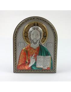 Cuadro de madera con placa bilaminada de plata Imagen: Pantocrator Tipo: Coloreado Disponible en diferentes medidas: 7,5 x
