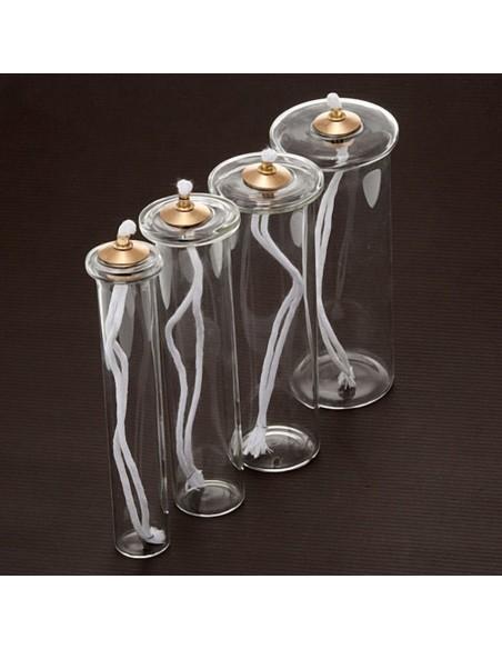 Cartucho de cristal Pyrex para simil vela.  Cartuchos de cera líquida para velas en vidrio con tapón superior en cristal y ar