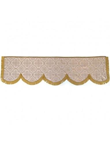 """Fabricado en Damasco """"Lampaso Bizantino"""". Fleco cadeneta Glace oro  Medidas: Largo: 2,30 cm                Ancho: 1,60 cm"""