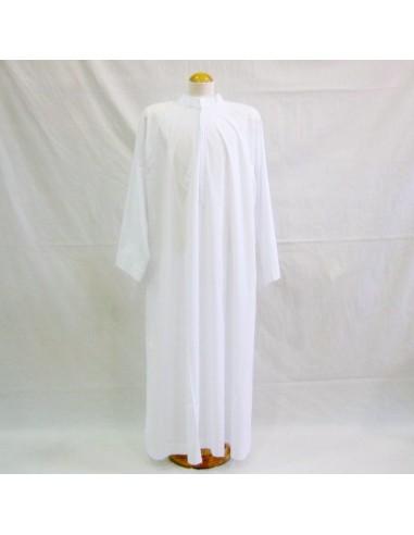 Alba sin tablas cuello sotana  misto algodón.